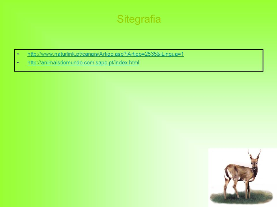Sitegrafia http://www.naturlink.pt/canais/Artigo.asp?iArtigo=2535&iLingua=1 http://animaisdomundo.com.sapo.pt/index.html