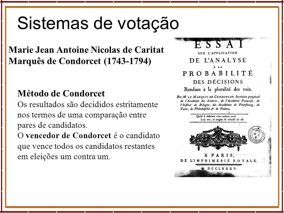Marie Jean Antoine Nicolas de Caritat Marquês de Condorcet (1743-1794) Método de Condorcet Os resultados são decididos estritamente nos termos de uma