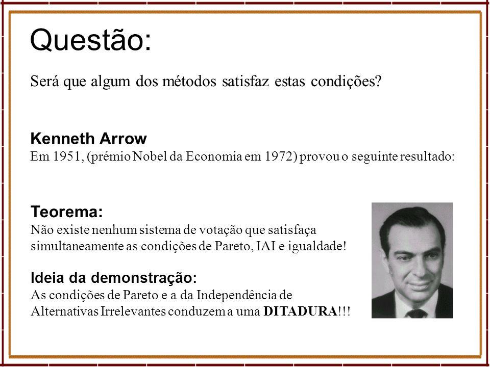Questão: Será que algum dos métodos satisfaz estas condições? Kenneth Arrow Em 1951, (prémio Nobel da Economia em 1972) provou o seguinte resultado: T