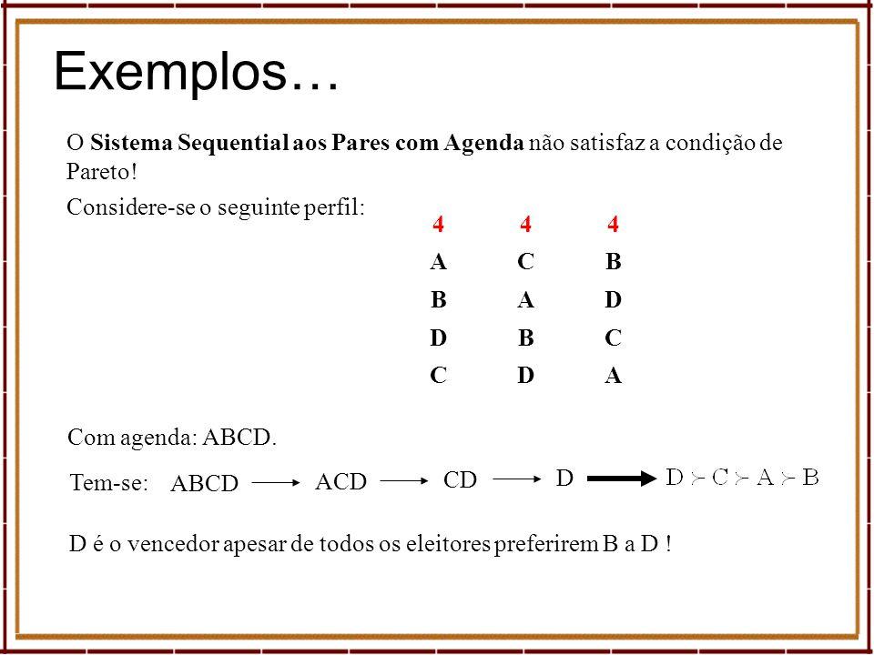 Exemplos… O Sistema Sequential aos Pares com Agenda não satisfaz a condição de Pareto! 444 ACB BAD DBC CDA ACD Com agenda: ABCD. Tem-se: ABCD CD D D é