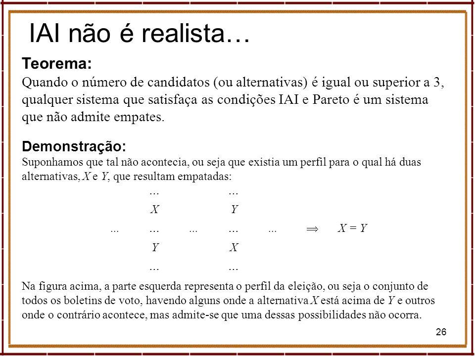 26 IAI não é realista… Teorema: Quando o número de candidatos (ou alternativas) é igual ou superior a 3, qualquer sistema que satisfaça as condições I