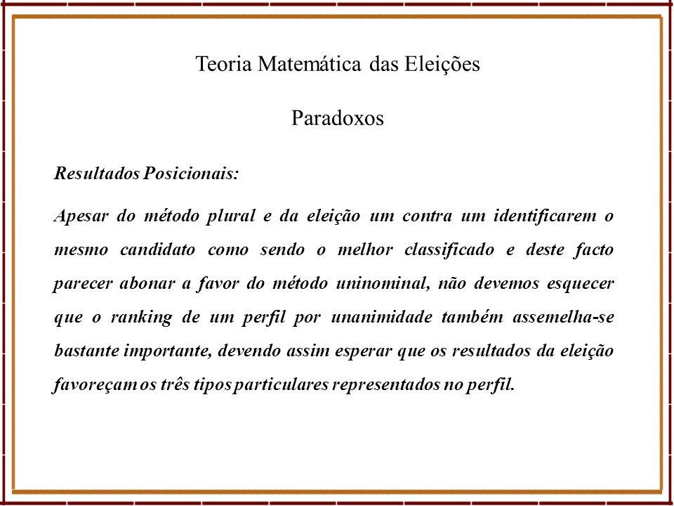 Teoria Matemática das Eleições Paradoxos Apesar do método plural e da eleição um contra um identificarem o mesmo candidato como sendo o melhor classif