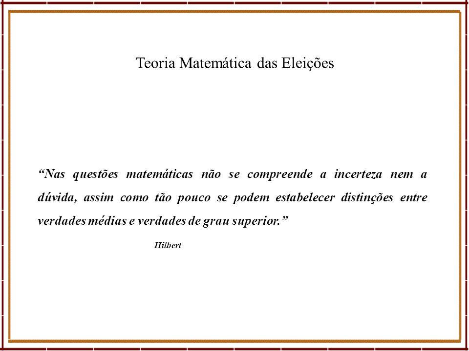 Teoria Matemática das Eleições Nas questões matemáticas não se compreende a incerteza nem a dúvida, assim como tão pouco se podem estabelecer distinçõ
