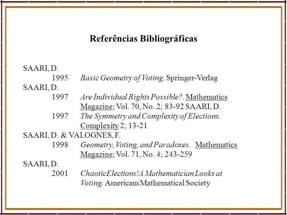 Referências Bibliográficas SAARI, D. 1995Basic Geometry of Voting. Springer-Verlag SAARI, D. 1997Are Individual Rights Possible?. Mathematics Magazine