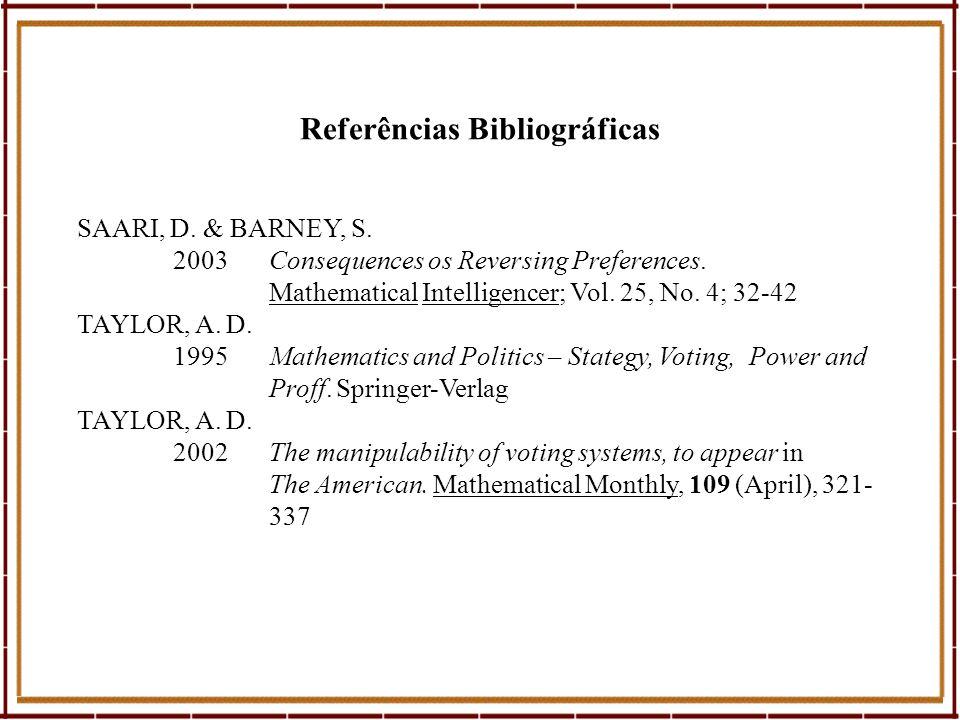 Referências Bibliográficas SAARI, D. & BARNEY, S. 2003Consequences os Reversing Preferences. Mathematical Intelligencer; Vol. 25, No. 4; 32-42 TAYLOR,