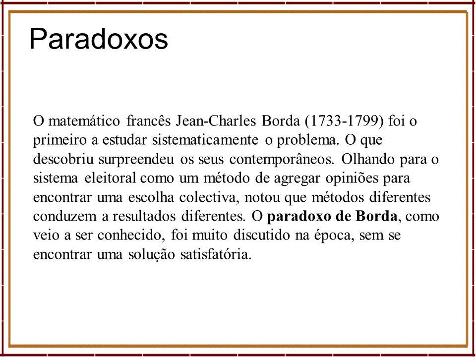 O matemático francês Jean-Charles Borda (1733-1799) foi o primeiro a estudar sistematicamente o problema. O que descobriu surpreendeu os seus contempo