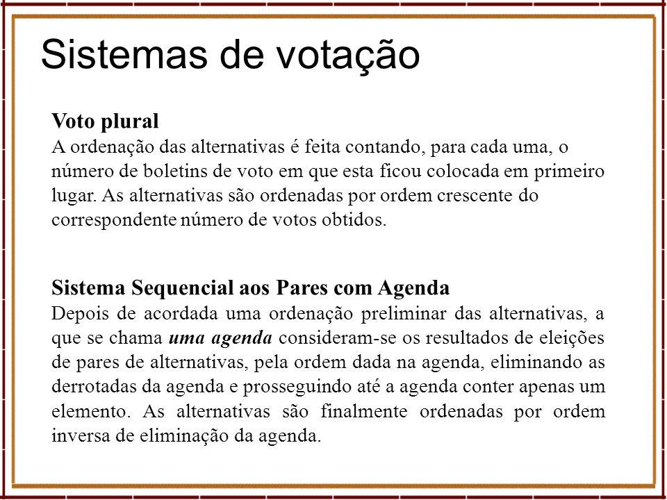 Sistemas de votação Expresso, suplemento Economia Sábado, 11 de Maio de 2002 Sistema de Hare Elimina(m)-se, em eleições sucessivas, a(s) alternativa(s) com o menor número de primeiros lugares, sendo as alternativas ordenadas por ordem inversa de eliminação.