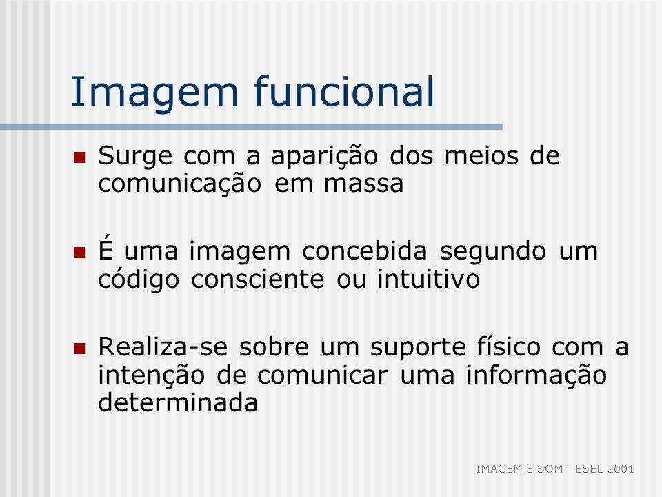 Imagem funcional Surge com a aparição dos meios de comunicação em massa É uma imagem concebida segundo um código consciente ou intuitivo Realiza-se so