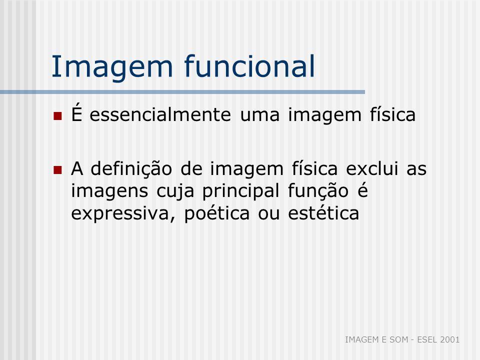 Imagem funcional É essencialmente uma imagem física A definição de imagem física exclui as imagens cuja principal função é expressiva, poética ou esté