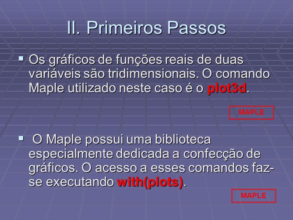 II. Primeiros Passos Os gráficos de funções reais de duas variáveis são tridimensionais. O comando Maple utilizado neste caso é o plot3d. Os gráficos