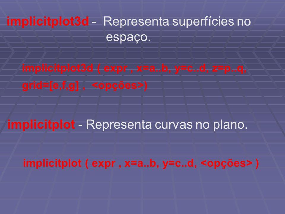 implicitplot3d - Representa superfícies no espaço. implicitplot3d ( expr, x=a..b, y=c..d, z=p..q, grid=[e,f,g], ) implicitplot - Representa curvas no
