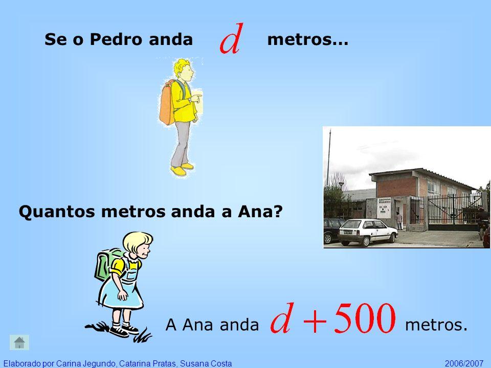 Se o Pedro anda metros… Quantos metros anda a Ana? A Ana anda metros. Elaborado por Carina Jegundo, Catarina Pratas, Susana Costa2006/2007