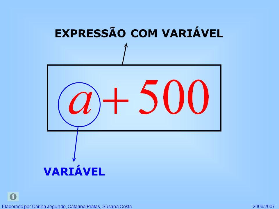 EXPRESSÕES COM VARIÁVEIS Elaborado por Carina Jegundo, Catarina Pratas, Susana Costa2006/2007