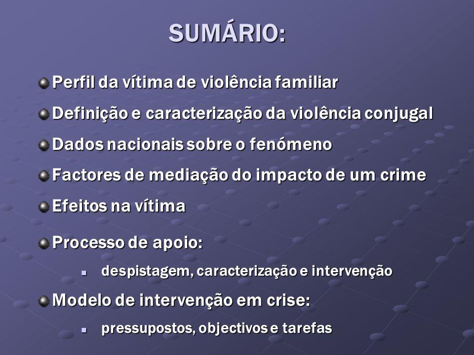 Perfil da vítima de violência familiar Definição e caracterização da violência conjugal Dados nacionais sobre o fenómeno Factores de mediação do impac