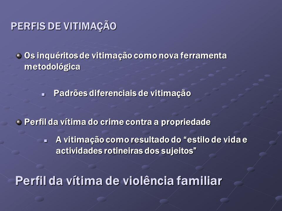 PERFIS DE VITIMAÇÃO Os inquéritos de vitimação como nova ferramenta metodológica Padrões diferenciais de vitimação Padrões diferenciais de vitimação P