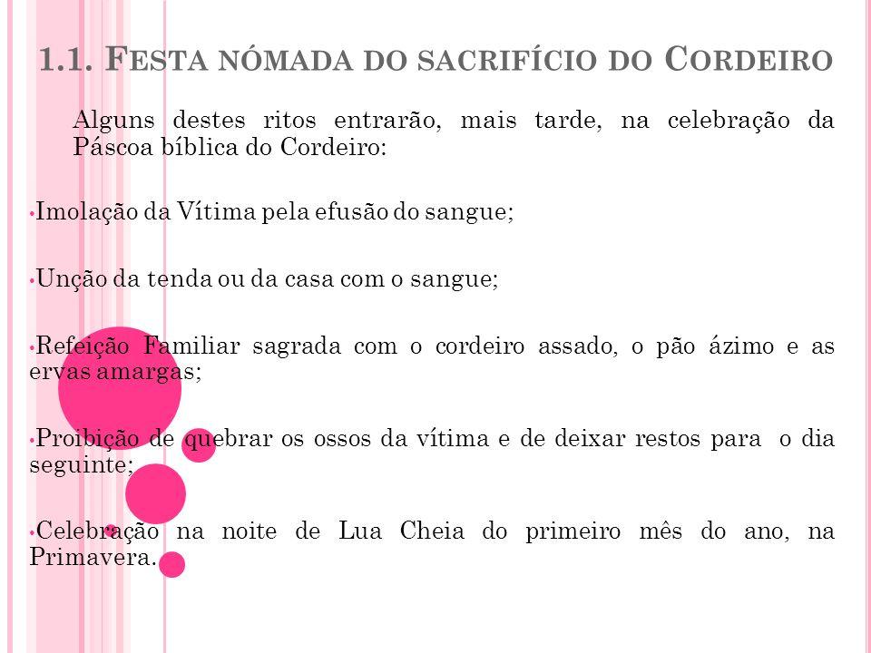 1.1. F ESTA NÓMADA DO SACRIFÍCIO DO C ORDEIRO Alguns destes ritos entrarão, mais tarde, na celebração da Páscoa bíblica do Cordeiro: Imolação da Vítim
