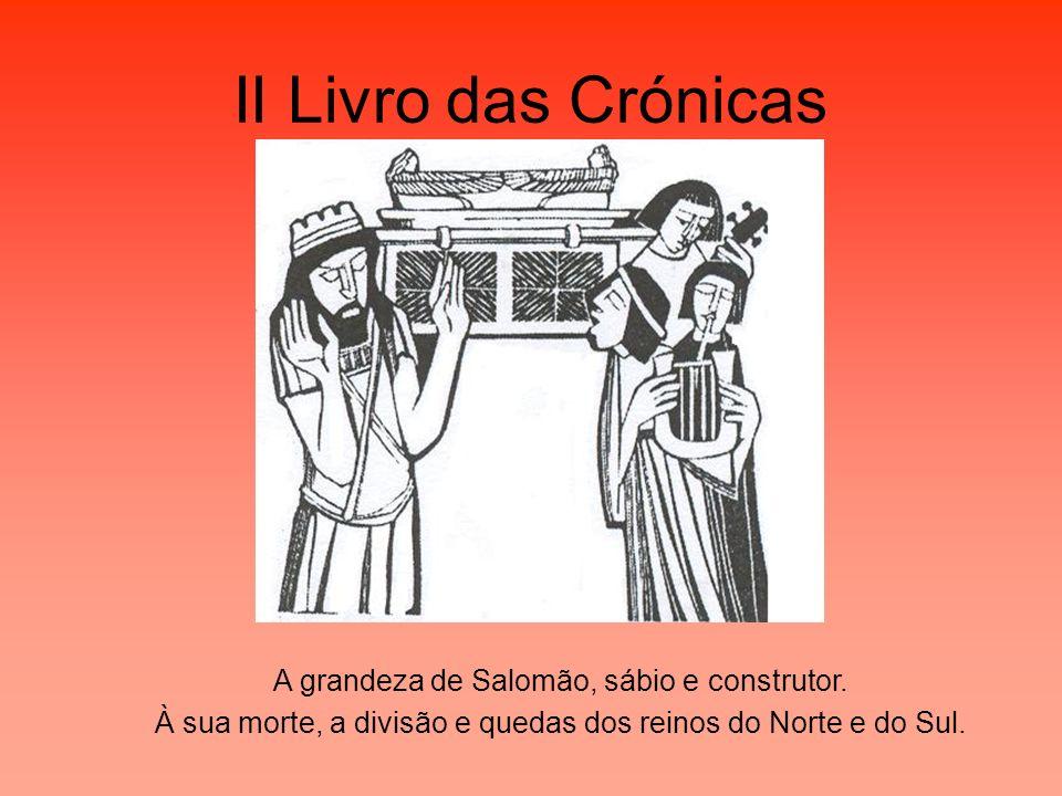 II Livro das Crónicas A grandeza de Salomão, sábio e construtor. À sua morte, a divisão e quedas dos reinos do Norte e do Sul.