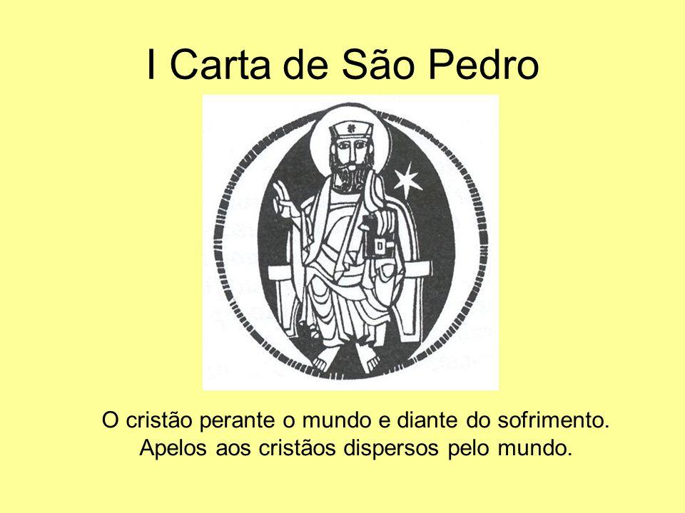 I Carta de São Pedro O cristão perante o mundo e diante do sofrimento. Apelos aos cristãos dispersos pelo mundo.