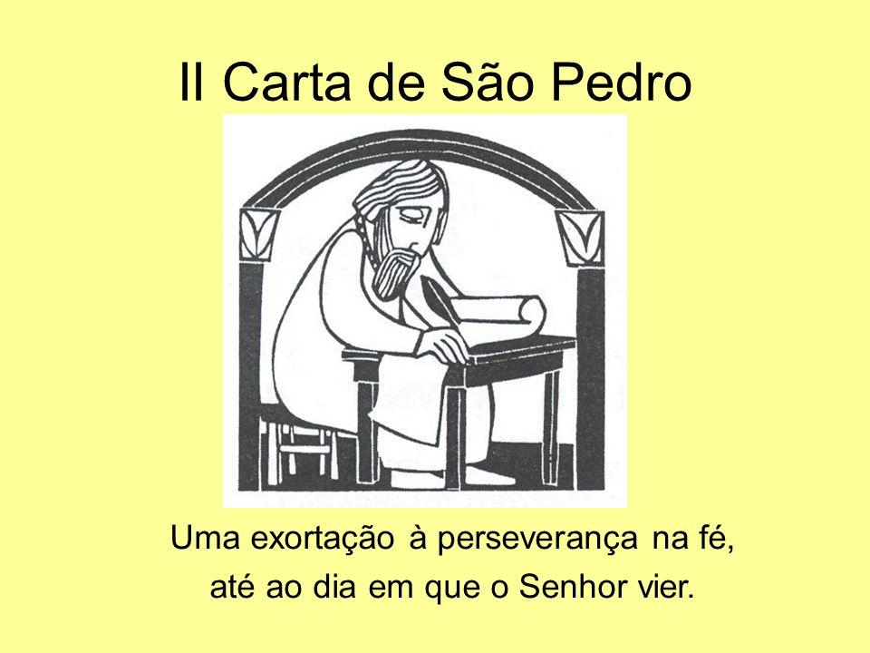 II Carta de São Pedro Uma exortação à perseverança na fé, até ao dia em que o Senhor vier.