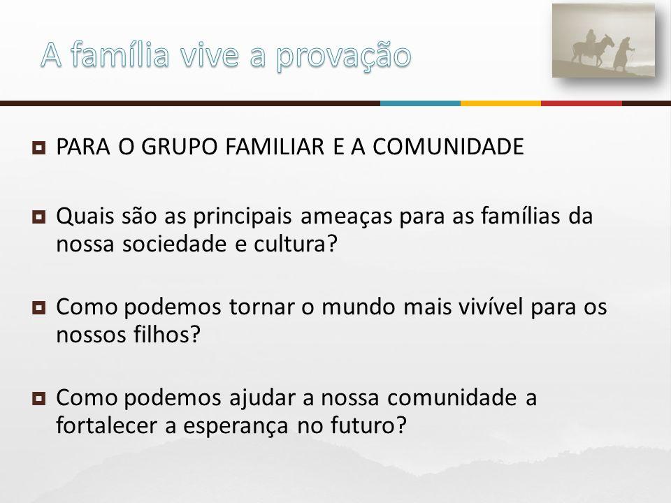 PARA O GRUPO FAMILIAR E A COMUNIDADE Quais são as principais ameaças para as famílias da nossa sociedade e cultura.