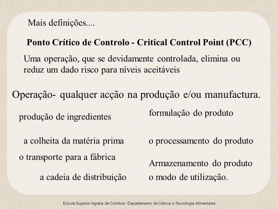 Escola Superior Agrária de Coimbra / Departamento de Ciência e Tecnologia Alimentares Ponto Crítico de Controlo - Critical Control Point (PCC) Operaçã