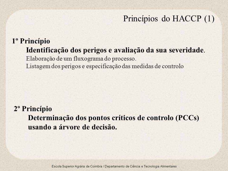 Escola Superior Agrária de Coimbra / Departamento de Ciência e Tecnologia Alimentares 3º Princípio Especificação de critérios - limites e tolerância que indicam se uma operação está sob controlo num dado PCC.