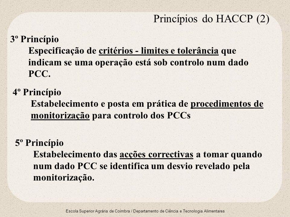 Escola Superior Agrária de Coimbra / Departamento de Ciência e Tecnologia Alimentares 3º Princípio Especificação de critérios - limites e tolerância q