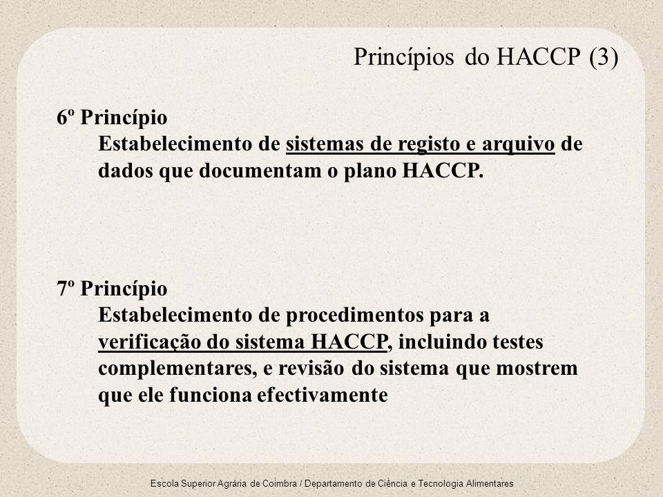 Escola Superior Agrária de Coimbra / Departamento de Ciência e Tecnologia Alimentares 6º Princípio Estabelecimento de sistemas de registo e arquivo de