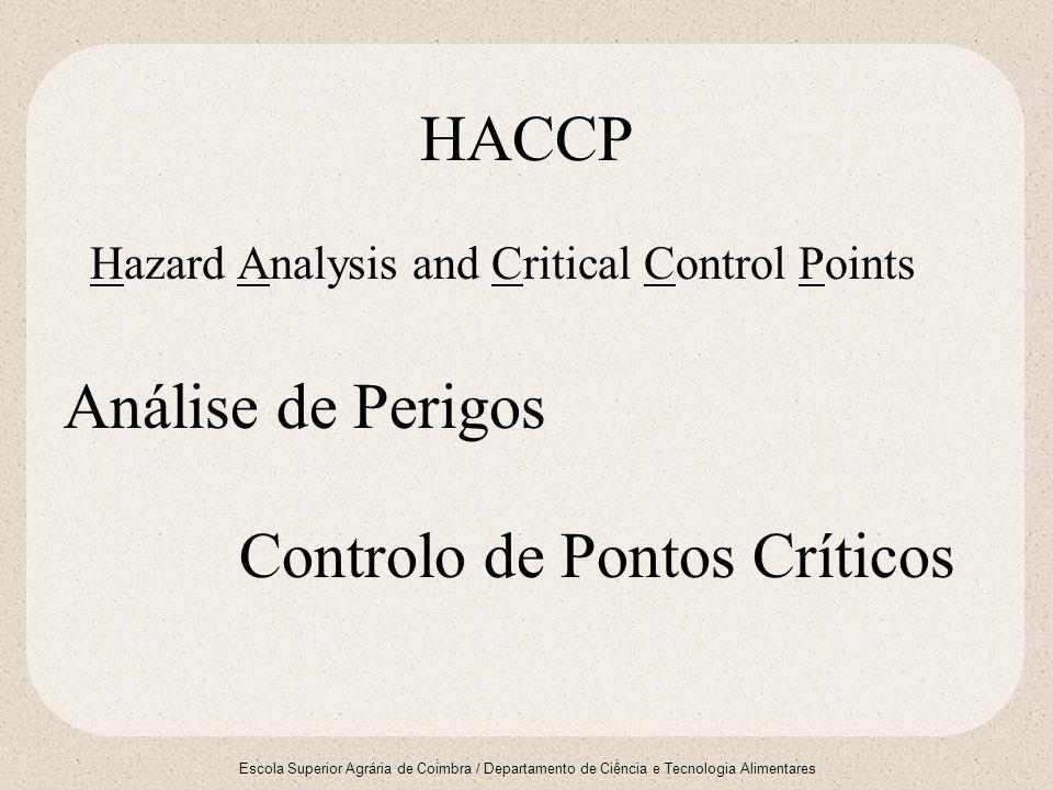 Escola Superior Agrária de Coimbra / Departamento de Ciência e Tecnologia Alimentares HACCP Hazard Analysis and Critical Control Points Análise de Per