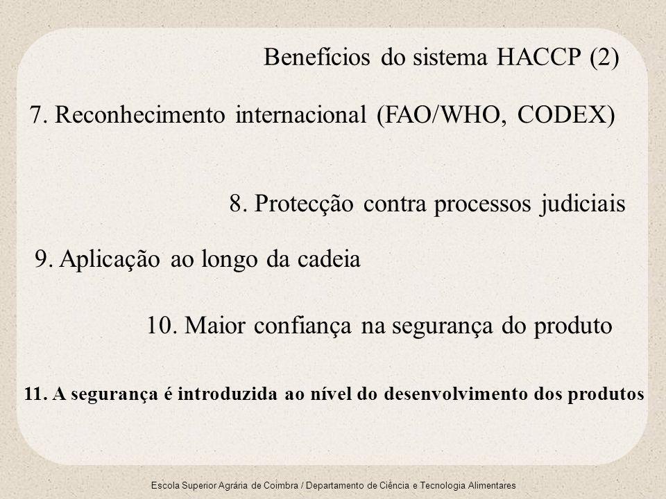 Escola Superior Agrária de Coimbra / Departamento de Ciência e Tecnologia Alimentares 7. Reconhecimento internacional (FAO/WHO, CODEX) 8. Protecção co