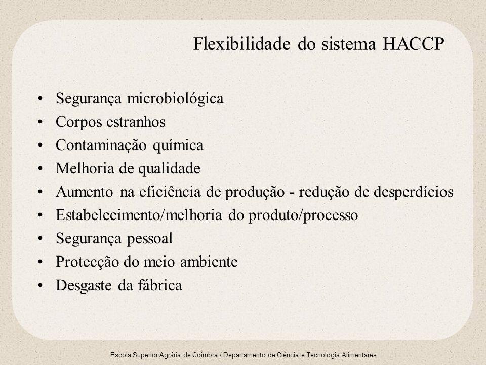 Escola Superior Agrária de Coimbra / Departamento de Ciência e Tecnologia Alimentares Flexibilidade do sistema HACCP Segurança microbiológica Corpos e