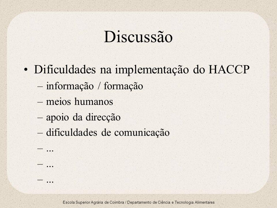 Escola Superior Agrária de Coimbra / Departamento de Ciência e Tecnologia Alimentares Discussão Dificuldades na implementação do HACCP –informação / f