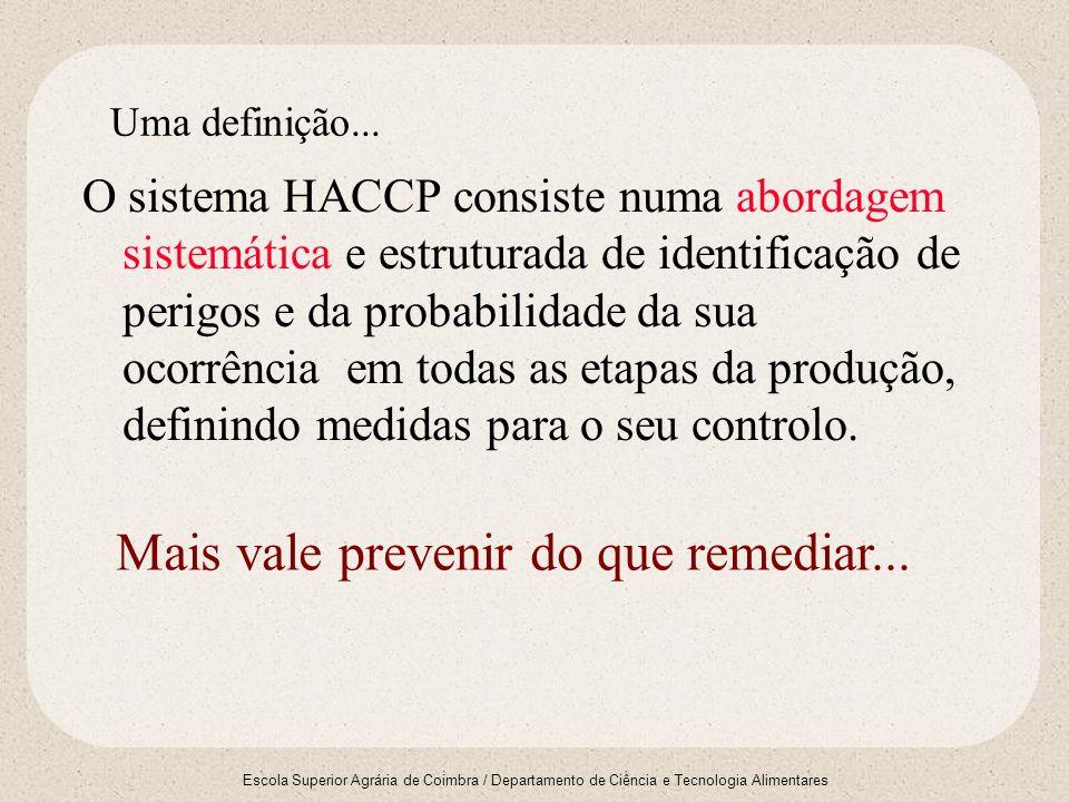 Escola Superior Agrária de Coimbra / Departamento de Ciência e Tecnologia Alimentares Uma definição... O sistema HACCP consiste numa abordagem sistemá