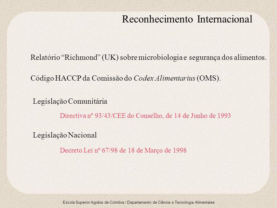 Escola Superior Agrária de Coimbra / Departamento de Ciência e Tecnologia Alimentares Código HACCP da Comissão do Codex Alimentarius (OMS). Relatório