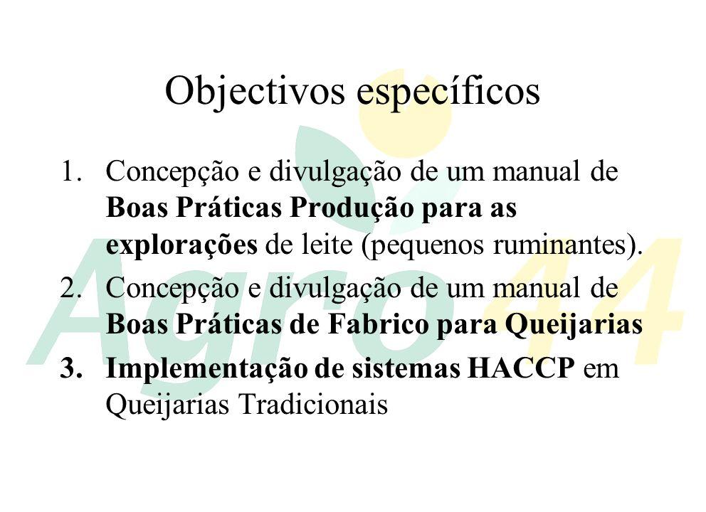 Objectivos específicos (cont.) 4.Concepção e divulgação de planos genéricos HACCP para o fabrico de Queijos Tradicionais e Requeijão 5.Criação de um site na Internet para relativo à temática da higiene, boas práticas de fabrico e HACCP na produção de queijo e requeijão