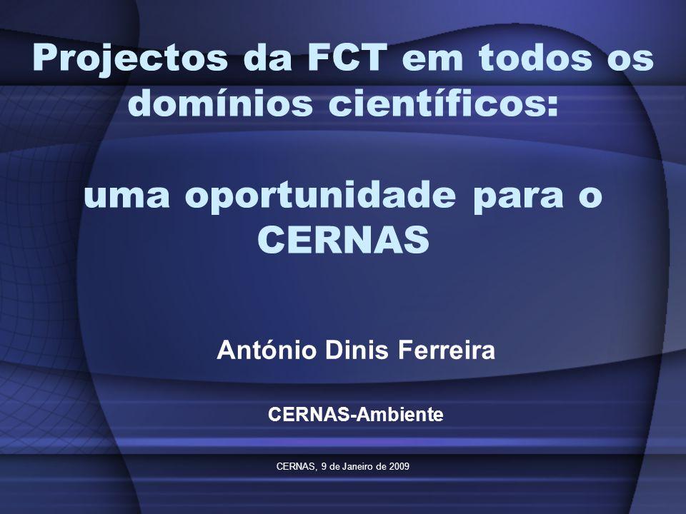 CERNAS, 9 de Janeiro de 2009 Projectos da FCT em todos os domínios científicos: uma oportunidade para o CERNAS António Dinis Ferreira CERNAS-Ambiente