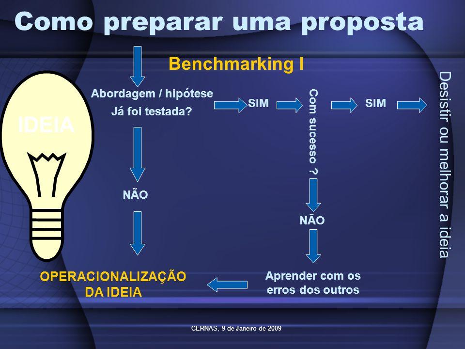 CERNAS, 9 de Janeiro de 2009 Como preparar uma proposta IDEIA Benchmarking I Abordagem / hipótese Já foi testada? SIM Com sucesso ? SIM Desistir ou me
