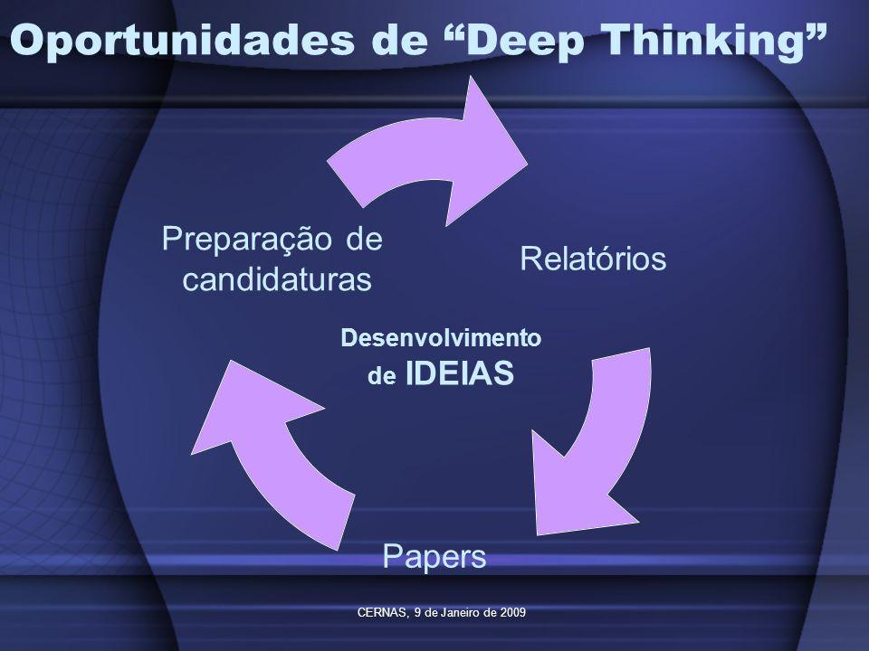 CERNAS, 9 de Janeiro de 2009 Oportunidades de Deep Thinking Relatórios Papers Preparação de candidaturas Desenvolvimento de IDEIAS