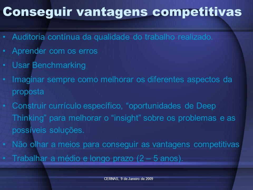 CERNAS, 9 de Janeiro de 2009 Conseguir vantagens competitivas Auditoria contínua da qualidade do trabalho realizado. Aprender com os erros Usar Benchm
