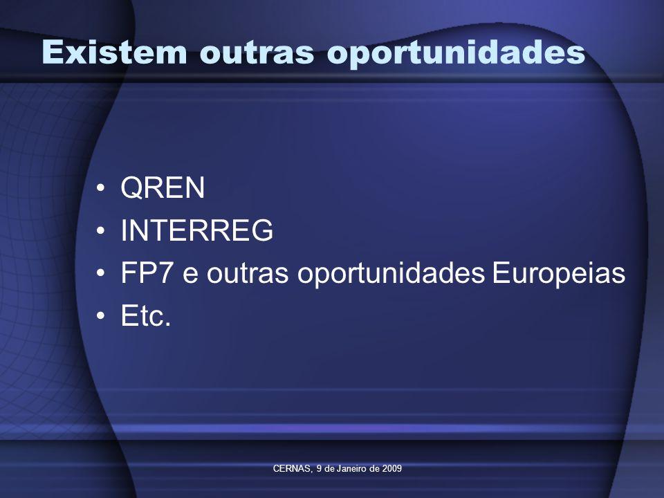 CERNAS, 9 de Janeiro de 2009 Existem outras oportunidades QREN INTERREG FP7 e outras oportunidades Europeias Etc.