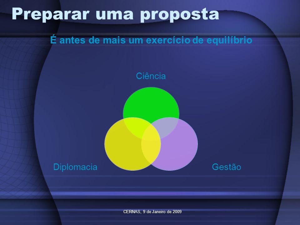 CERNAS, 9 de Janeiro de 2009 Preparar uma proposta Ciência GestãoDiplomacia É antes de mais um exercício de equilíbrio