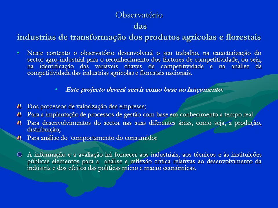 Observatório das industrias de transformação dos produtos agrícolas e florestais Neste contexto o observatório desenvolverá o seu trabalho, na caracte