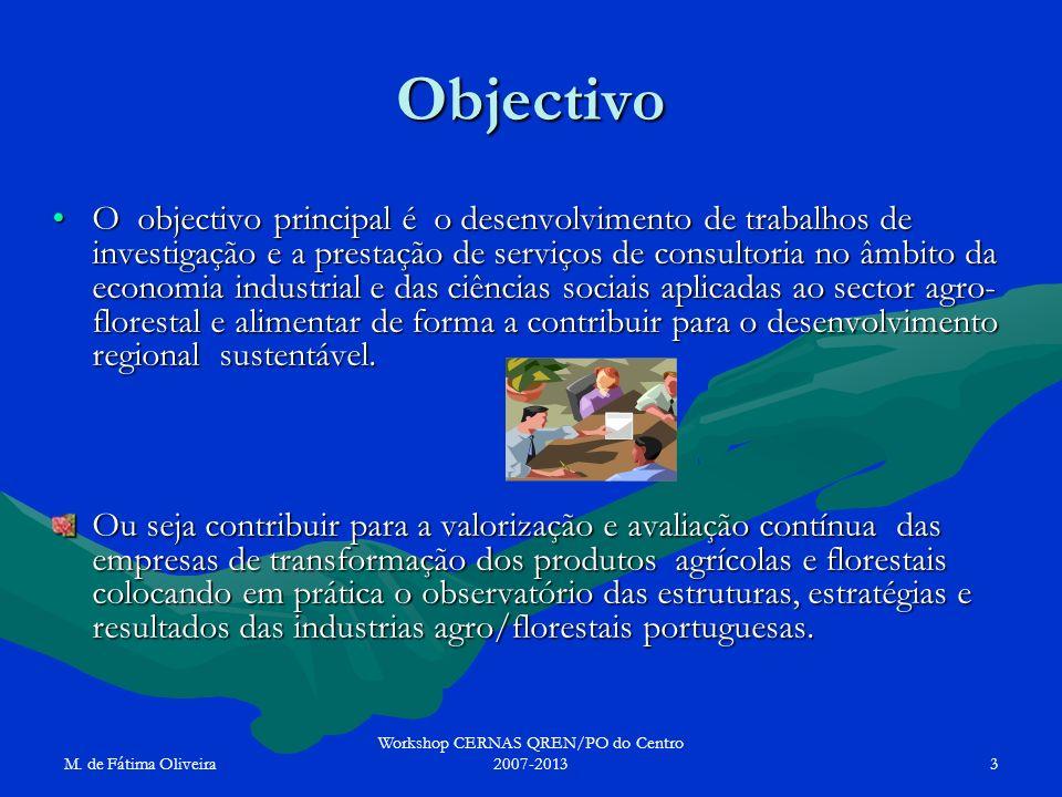 M. de Fátima Oliveira Workshop CERNAS QREN/PO do Centro 2007-20133 Objectivo O objectivo principal é o desenvolvimento de trabalhos de investigação e