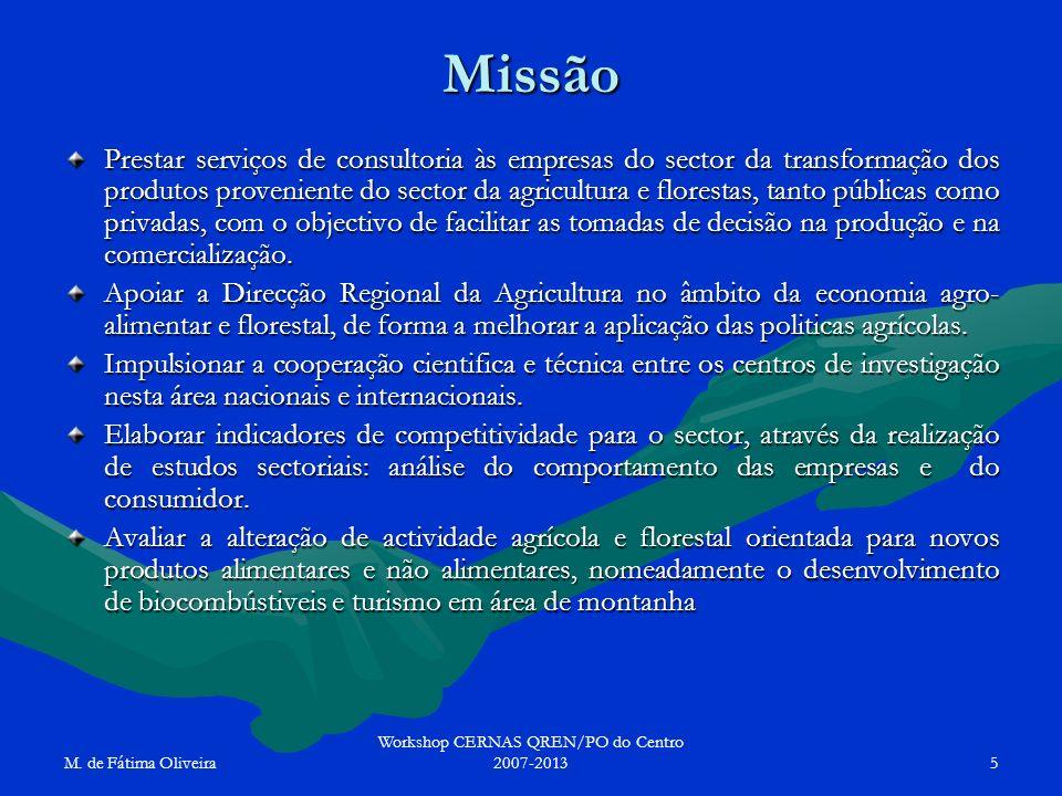 M. de Fátima Oliveira Workshop CERNAS QREN/PO do Centro 2007-20135 Missão Prestar serviços de consultoria às empresas do sector da transformação dos p