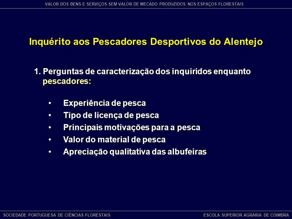 Inquérito aos Pescadores Desportivos do Alentejo SOCIEDADE PORTUGUESA DE CIÊNCIAS FLORESTAIS ESCOLA SUPERIOR AGRÁRIA DE COIMBRA VALOR DOS BENS E SERVIÇOS SEM VALOR DE MECADO PRODUZIDOS NOS ESPAÇOS FLORESTAIS 1.