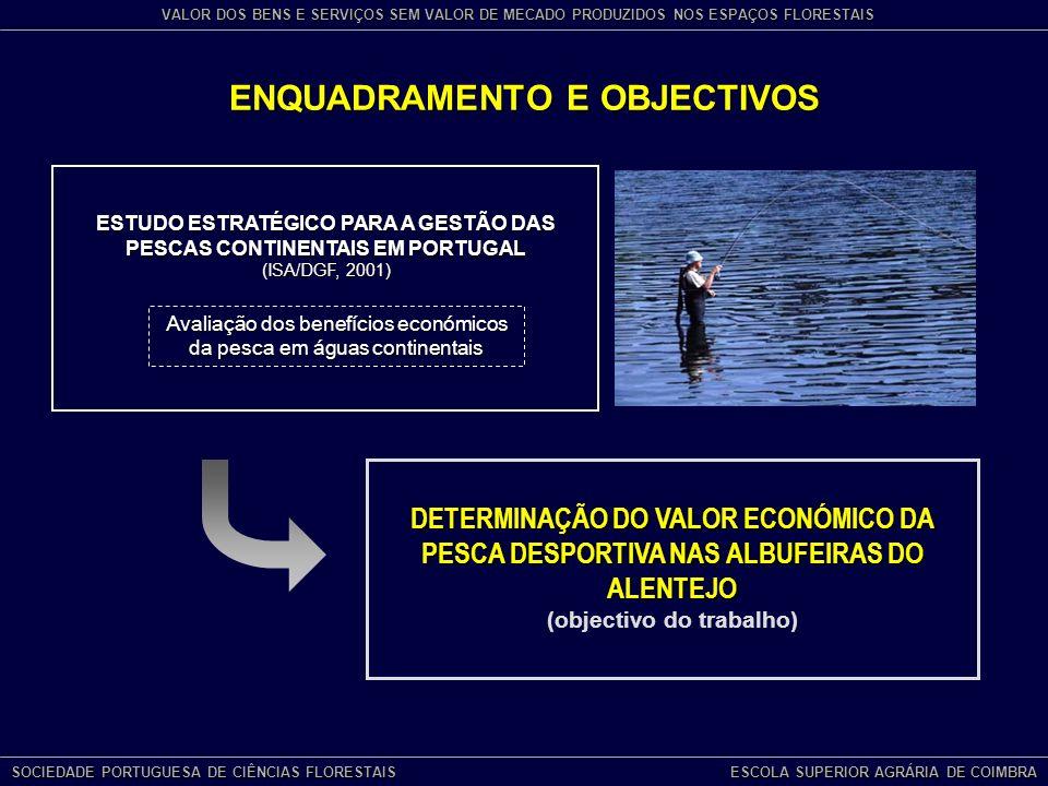 ESTUDO ESTRATÉGICO PARA A GESTÃO DAS PESCAS CONTINENTAIS EM PORTUGAL (ISA/DGF, 2001) DETERMINAÇÃO DO VALOR ECONÓMICO DA PESCA DESPORTIVA NAS ALBUFEIRAS DO ALENTEJO (objectivo do trabalho) ENQUADRAMENTO E OBJECTIVOS Avaliação dos benefícios económicos da pesca em águas continentais SOCIEDADE PORTUGUESA DE CIÊNCIAS FLORESTAIS ESCOLA SUPERIOR AGRÁRIA DE COIMBRA VALOR DOS BENS E SERVIÇOS SEM VALOR DE MECADO PRODUZIDOS NOS ESPAÇOS FLORESTAIS