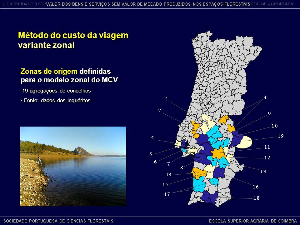 Zonas de origem definidas para o modelo zonal do MCV 19 agregações de concelhos 19 agregações de concelhos Fonte: dados dos inquéritos Fonte: dados dos inquéritos Método do custo da viagem variante zonal SOCIEDADE PORTUGUESA DE CIÊNCIAS FLORESTAIS ESCOLA SUPERIOR AGRÁRIA DE COIMBRA VALOR DOS BENS E SERVIÇOS SEM VALOR DE MECADO PRODUZIDOS NOS ESPAÇOS FLORESTAIS