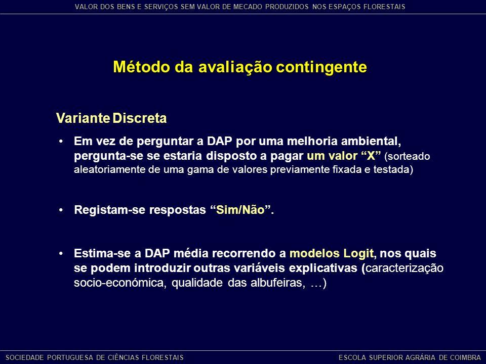 Método da avaliação contingente Variante Discreta Em vez de perguntar a DAP por uma melhoria ambiental, pergunta-se se estaria disposto a pagar um valor X (sorteado aleatoriamente de uma gama de valores previamente fixada e testada) Registam-se respostas Sim/Não.
