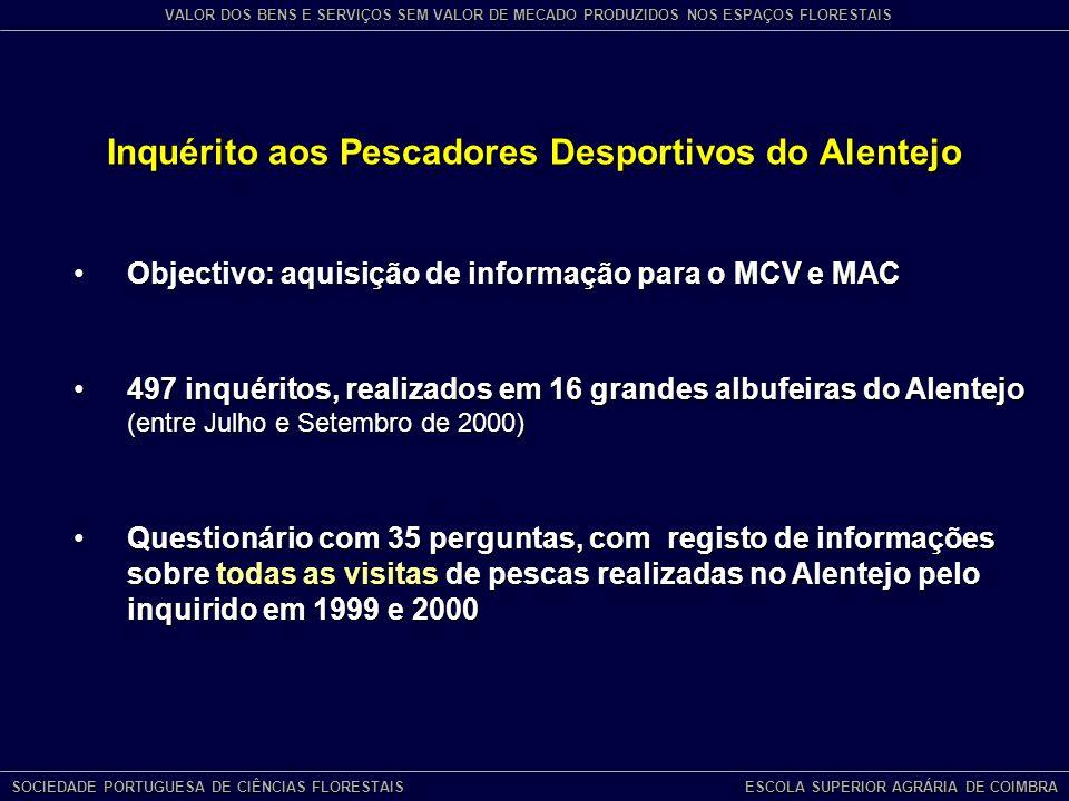 Inquérito aos Pescadores Desportivos do Alentejo Objectivo: aquisição de informação para o MCV e MACObjectivo: aquisição de informação para o MCV e MAC 497 inquéritos, realizados em 16 grandes albufeiras do Alentejo (entre Julho e Setembro de 2000)497 inquéritos, realizados em 16 grandes albufeiras do Alentejo (entre Julho e Setembro de 2000) Questionário com 35 perguntas, com registo de informações sobre todas as visitas de pescas realizadas no Alentejo pelo inquirido em 1999 e 2000Questionário com 35 perguntas, com registo de informações sobre todas as visitas de pescas realizadas no Alentejo pelo inquirido em 1999 e 2000 SOCIEDADE PORTUGUESA DE CIÊNCIAS FLORESTAIS ESCOLA SUPERIOR AGRÁRIA DE COIMBRA VALOR DOS BENS E SERVIÇOS SEM VALOR DE MECADO PRODUZIDOS NOS ESPAÇOS FLORESTAIS