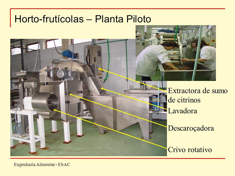 Engenharia Alimentar - ESAC Horto-frutícolas – Planta Piloto Extractora de sumo de citrinos Lavadora Descaroçadora Crivo rotativo